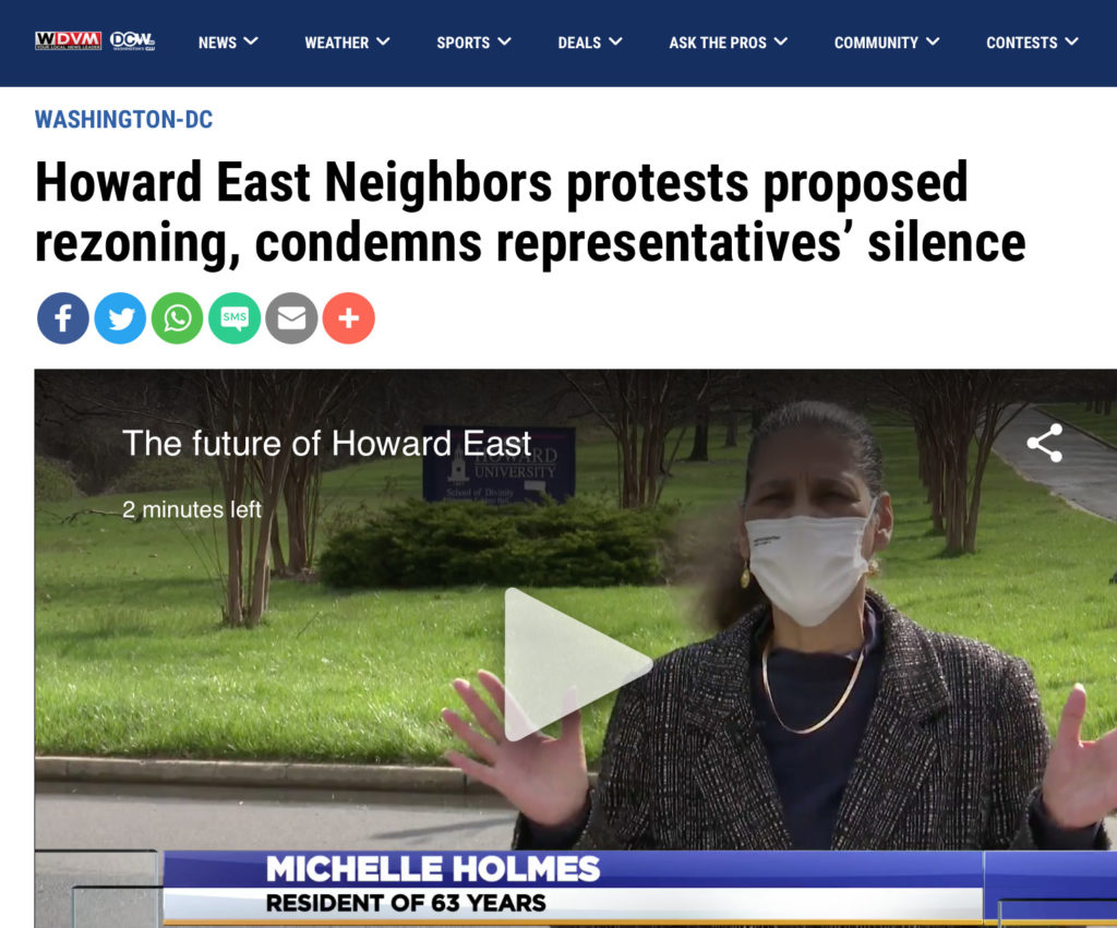 Howard east neighbors interviewed by WDMV CW affiliate